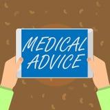 Conceptuele hand die tonend Medisch advies schrijven De Begeleiding van de bedrijfsfototekst van een gezondheidszorgdeskundige ov royalty-vrije illustratie