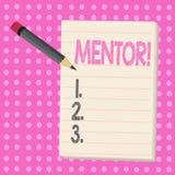 Conceptuele hand die tonend Mentor schrijven De Persoon van de bedrijfsfototekst die advies of steun minder aan jonger geeft royalty-vrije illustratie