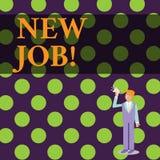 Conceptuele hand die tonend Nieuwe Baan schrijven Bedrijfsfototekst die onlangs positie van reguliere arbeid hebben betaald stock illustratie