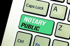 Conceptuele hand die tonend Notaris Public schrijven Van de de Certificatie wettigheidsdocumentatie van de bedrijfsfototekst de V stock foto's