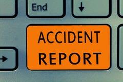 Conceptuele hand die tonend Ongevallenrapport schrijven De vorm van de bedrijfsfototekst A die ingevulde verslagdetails van een o stock fotografie