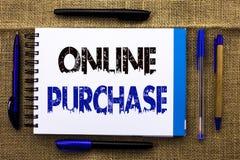 Conceptuele hand die tonend Online Aankoop schrijven De bedrijfsfototekst koopt dingen op het net gaat winkelend zonder huis te v stock afbeelding