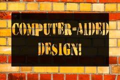 Conceptuele hand die tonend Ontwerp Met computer schrijven Bedrijfsfoto die CAD het industriële ontwerpen demonstreren door elekt stock afbeeldingen