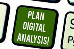 Conceptuele hand die tonend Plan Digitale Analyse schrijven De Analyse van de bedrijfsfototekst van kwalitatief en kwantitatief stock foto's