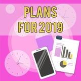 Conceptuele hand die tonend Plannen voor 2019 schrijven Bedrijfsfototekst een bedoeling of een besluit over wat men aan gaat vector illustratie