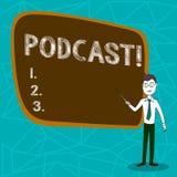 Conceptuele hand die tonend Podcast-Bedrijfsfoto die Online media transmissie Digitaal vermaak demonstreren Van verschillende med stock illustratie