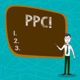 Conceptuele hand die tonend Ppc schrijven De bedrijfsfoto demonstratie betaalt per Klik Reclamestrategieën Direct Verkeer aan stock illustratie