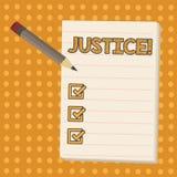Conceptuele hand die tonend Rechtvaardigheid schrijven Bedrijfsfoto die onpartijdige aanpassing van tegenstrijdige eisen demonstr stock illustratie