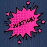 Conceptuele hand die tonend Rechtvaardigheid schrijven De onpartijdige aanpassing van de bedrijfsfototekst van tegenstrijdige eis stock illustratie
