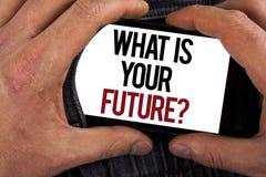 Conceptuele hand die tonend schrijven wat Uw Toekomstige Vraag is Bedrijfsfoto die waar demonstreren u zich in volgend jaar ziet stock foto