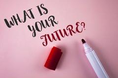 Conceptuele hand die tonend schrijven wat Uw Toekomstige Vraag is Bedrijfsfoto die waar demonstreren u zich in volgend jaar ziet stock afbeelding