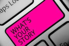 Conceptuele hand die tonend schrijven Welk s Uw Verhaal is De bedrijfsfoto die vragend iemand vertelt me over zich Aandeel experi royalty-vrije stock afbeelding