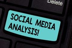 Conceptuele hand die tonend Sociale Media Analyse schrijven Bedrijfsfoto demonstratie het verzamelen en de evaluatie van sociaal stock fotografie