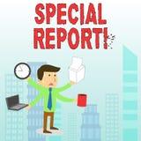 Conceptuele hand die tonend Speciaal Rapport schrijven Bedrijfsfototekst de latebreaking nieuws Speciale dekking of het korte nie stock illustratie