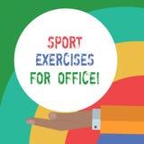 Conceptuele hand die tonend Sportenoefeningen voor Bureau schrijven Bedrijfsfototekst die in de pasvorm van het werkplaatsverblij vector illustratie