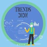 Conceptuele hand die tonend Tendensen 2020 schrijft Bedrijfsfoto die algemene richting demonstreren waarin iets is vector illustratie