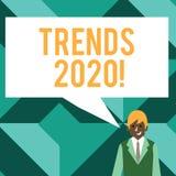 Conceptuele hand die tonend Tendensen 2020 schrijft De algemene richting van de bedrijfsfototekst waarin iets zich ontwikkelt of vector illustratie