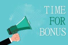 Conceptuele hand die tonend Tijd voor Bonus schrijven De bedrijfsfoto die een som geld demonstreren voegde aan de lonen van een p royalty-vrije illustratie