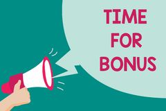 Conceptuele hand die tonend Tijd voor Bonus schrijven De bedrijfsfototekst een som geld voegde aan de lonen van een persoon toe a stock illustratie