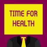 Conceptuele hand die tonend Tijd voor Gezondheid schrijven Bedrijfsfototekst die iemand aanmoedigen beginnen gezonde food do spor Royalty-vrije Illustratie