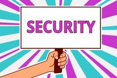 Conceptuele hand die tonend Veiligheid schrijven Bedrijfsfoto die de staat van het voelen van veilige stabiel en vrij van vrees o stock illustratie