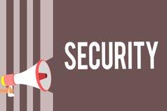 Conceptuele hand die tonend Veiligheid schrijven Bedrijfsfoto die de staat van het voelen van veilige stabiel en vrij van vrees o royalty-vrije illustratie