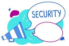 Conceptuele hand die tonend Veiligheid schrijven Bedrijfsfototekst de staat van het voelen van veilige stabiel en vrij van vrees  stock illustratie