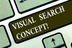 Conceptuele hand die tonend Visueel zoekenconcept schrijven De op waarneming gebaseerde taak die van de bedrijfsfototekst aandach stock fotografie