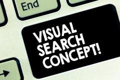 Conceptuele hand die tonend Visueel zoekenconcept schrijven De op waarneming gebaseerde taak die van de bedrijfsfototekst aandach royalty-vrije stock foto's