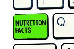 Conceptuele hand die tonend Voedingsfeiten schrijven Bedrijfsfototekst Gedetailleerde informatie over de voedingsmiddelen van royalty-vrije stock foto