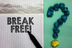 Conceptuele hand die tonend Vrije Onderbreking schrijven Bedrijfsfototekst een andere manier om redding uit de gevangenis Noteb t royalty-vrije stock foto