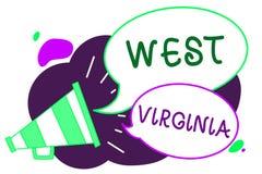 Conceptuele hand die tonend West-Virginia schrijven Van het de Reistoerisme van de Staat van de Verenigde Staten van Amerika van  Stock Fotografie