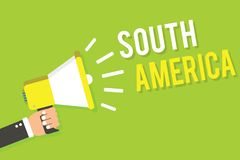Conceptuele hand die tonend Zuid-Amerika schrijven Het Continent van de bedrijfsfototekst in Westelijke die Hemisfeer Latinos voo vector illustratie