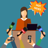 Conceptuele illustratie op het thema van het breken van nieuws in in Royalty-vrije Stock Fotografie