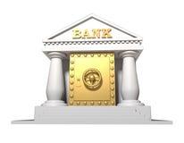 De gouden brandkast die in de bouw van bank is ingebouwd Royalty-vrije Stock Afbeeldingen
