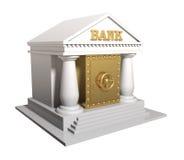 Het bankgebouw met de gouden brandkast, een conceptuele illustratie Royalty-vrije Stock Afbeelding