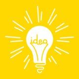 Conceptuele illustratie van het abstracte heldere die glanzen lightbulb met het woordidee binnen het wordt geschreven stock illustratie