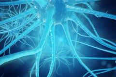 Conceptuele illustratie van neuronencellen met gloeiende verbindingsknopen Synaps en Neuronencellen die elektrochemisch product v Stock Afbeelding