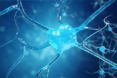 Conceptuele illustratie van neuronencellen met gloeiende verbindingsknopen Synaps en Neuronencellen die elektrochemisch product v Stock Foto