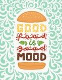 Conceptuele kunst van hamburger Citeert ` het goede voedsel goede stemming ` is Vectorillustratie van het van letters voorzien ui stock illustratie