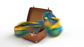 Conceptuele reisanimatie De fotocamera, laptop, borrels, vinnen, zonnebril vliegt in een koffer De kofferveranderingen in een aut stock videobeelden