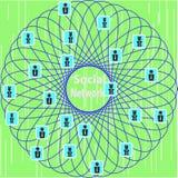 Conceptuele schematische vertegenwoordiging van het sociale netwerk stock illustratie