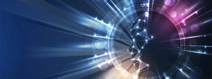 Conceptuele technologieillustratie van kunstmatige intelligentie Abstracte Futuristische Achtergrond royalty-vrije illustratie