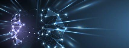 Conceptuele technologieillustratie van kunstmatige intelligentie Abstracte Futuristische Achtergrond stock illustratie