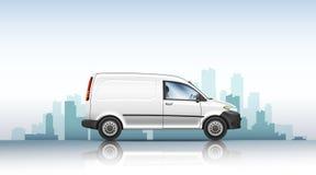 Conceptuele vectorillustratie van bestelwagen op een stedelijke achtergrond stock afbeeldingen