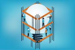 Conceptuele vectorillustratie voor het mede werken voor idee, startconcept Stock Afbeeldingen