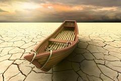 Conceptuele vertegenwoordiging van een droogte met een boot op een droog meer royalty-vrije illustratie