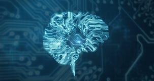 Conceptuele video van de hersenen van de kringsverbinding vector illustratie
