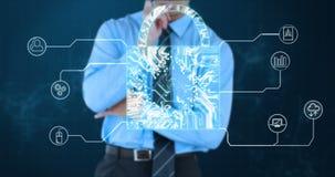 Conceptuele video van de veiligheid van de kringsverbinding stock videobeelden