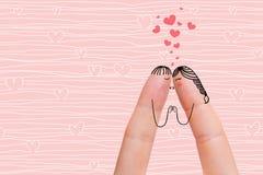 Conceptuele vingerkunst van een Gelukkig paar De minnaars kussen Het beeld van de voorraad Stock Afbeelding